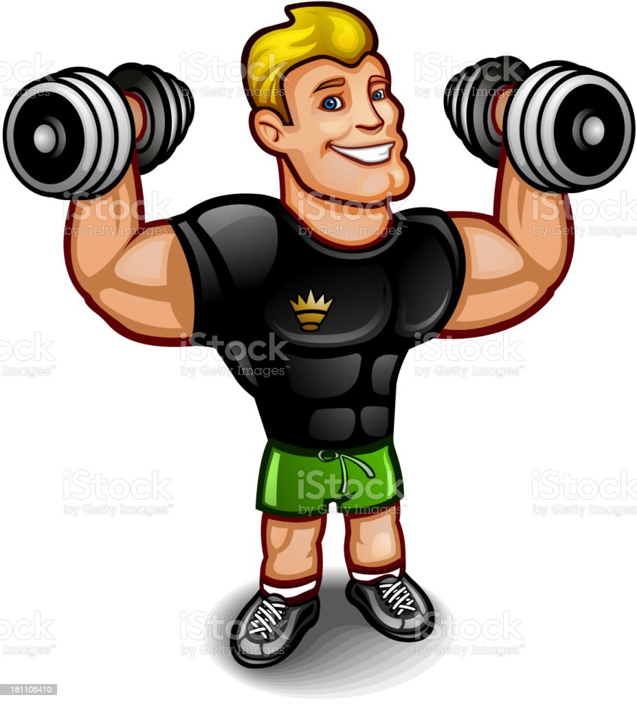 Athlete with a dumbbell royalty-free stock vector art