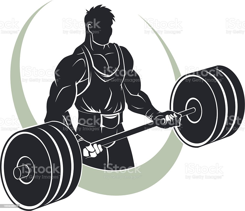 Athlete with barbell royalty-free stock vector art