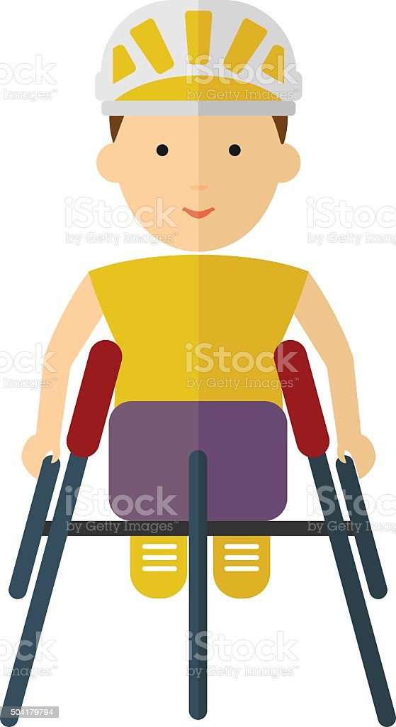 Athletes in wheelchair racing inside a stadium. Flat style color vector art illustration
