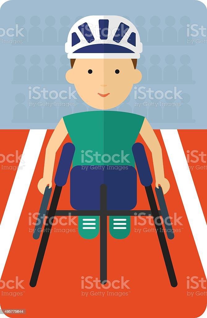 Athletes in wheelchair racing inside a stadium vector art illustration