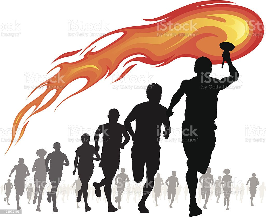 Athletes with flaming torch. royalty-free stock vector art