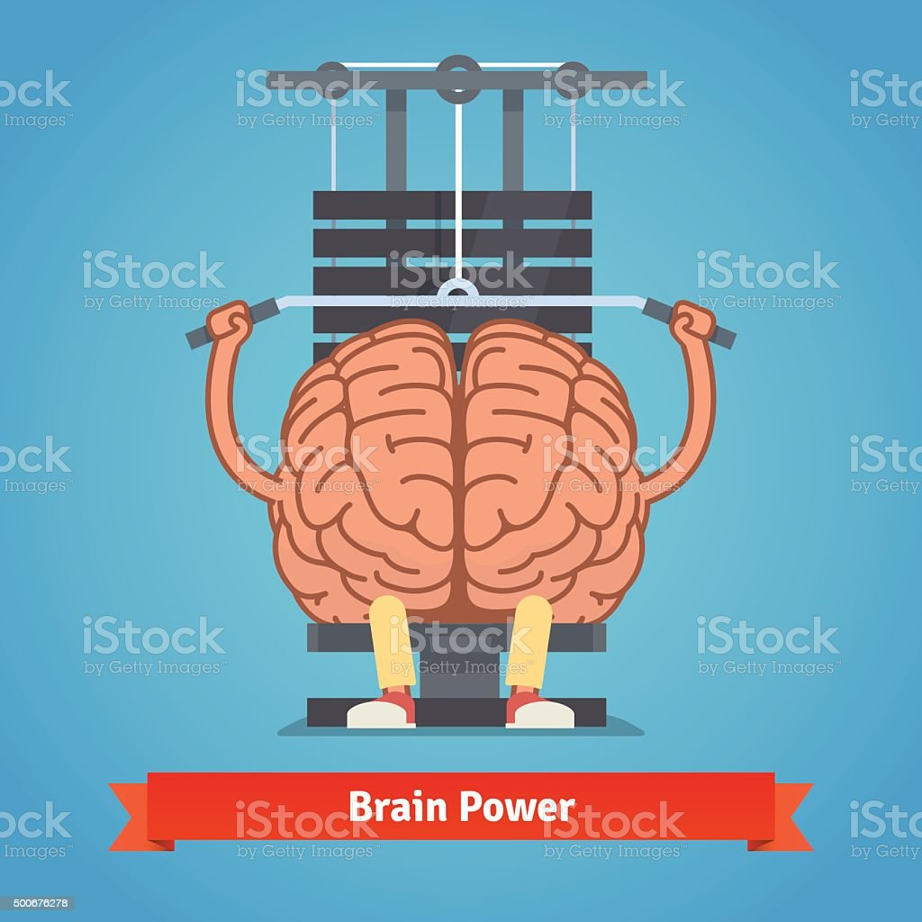 Athletic and fit brain doing heavy weight training vector art illustration