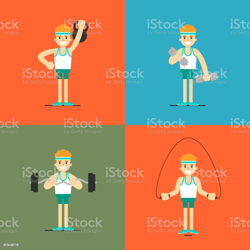 Athletic man doing exercise, illustration set vector art illustration