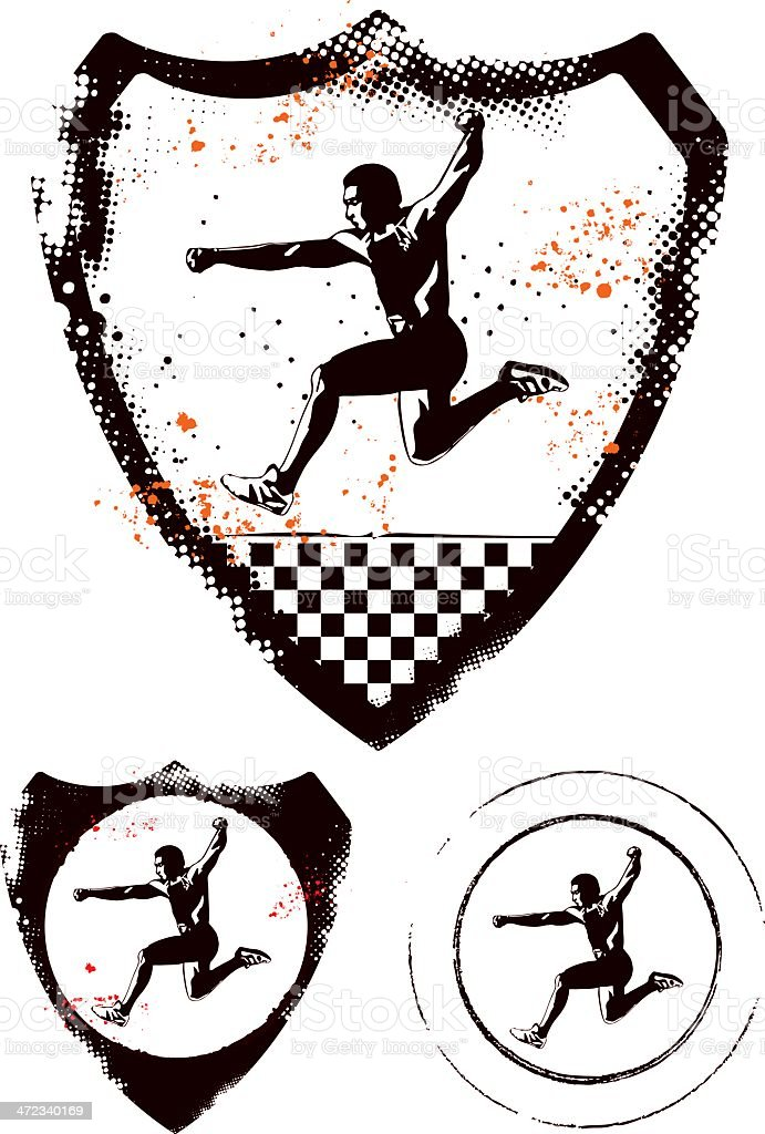 athletic man running with grunge sport shield royalty-free stock vector art