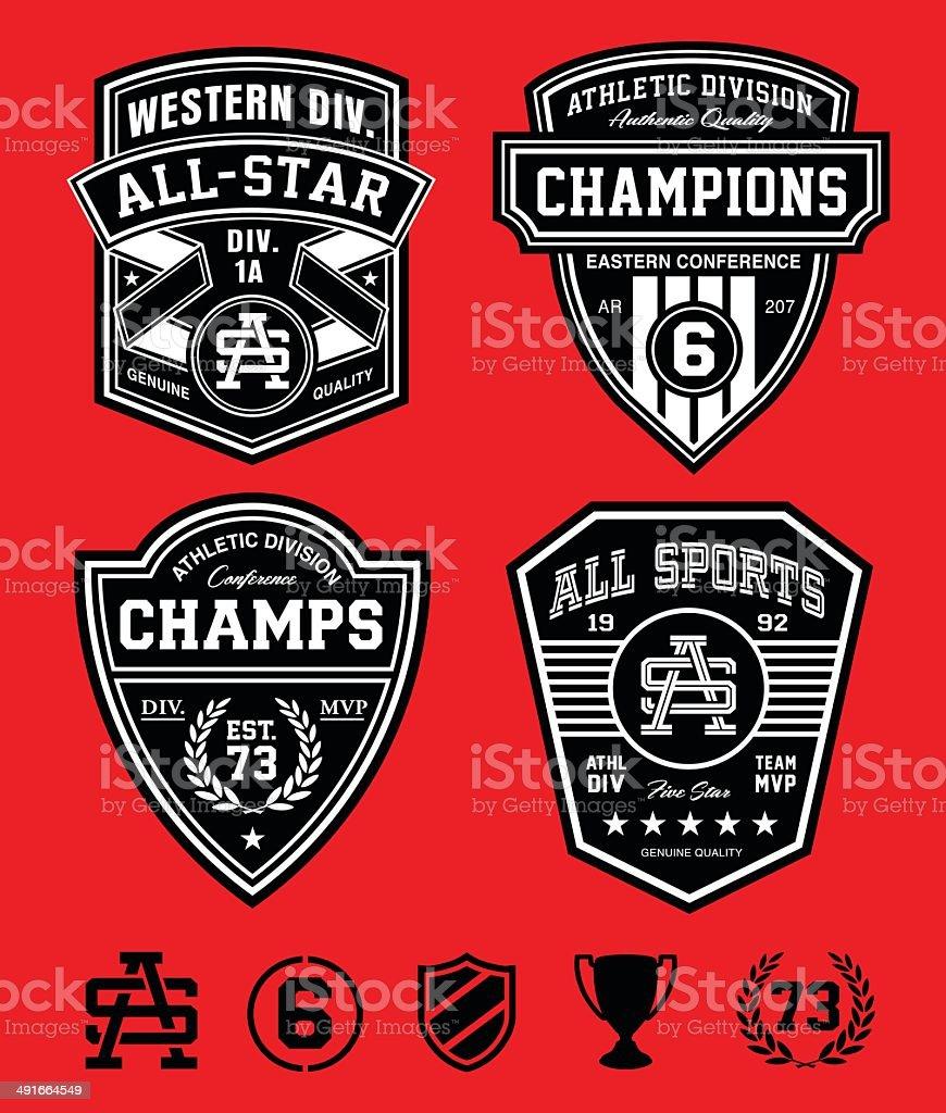 Athletic patch emblems vector art illustration