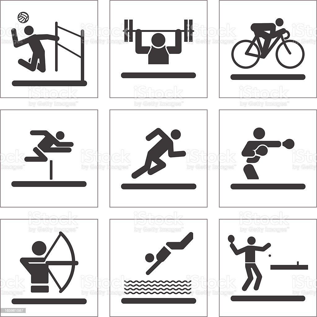 Athletic Pictogram Icons vector art illustration