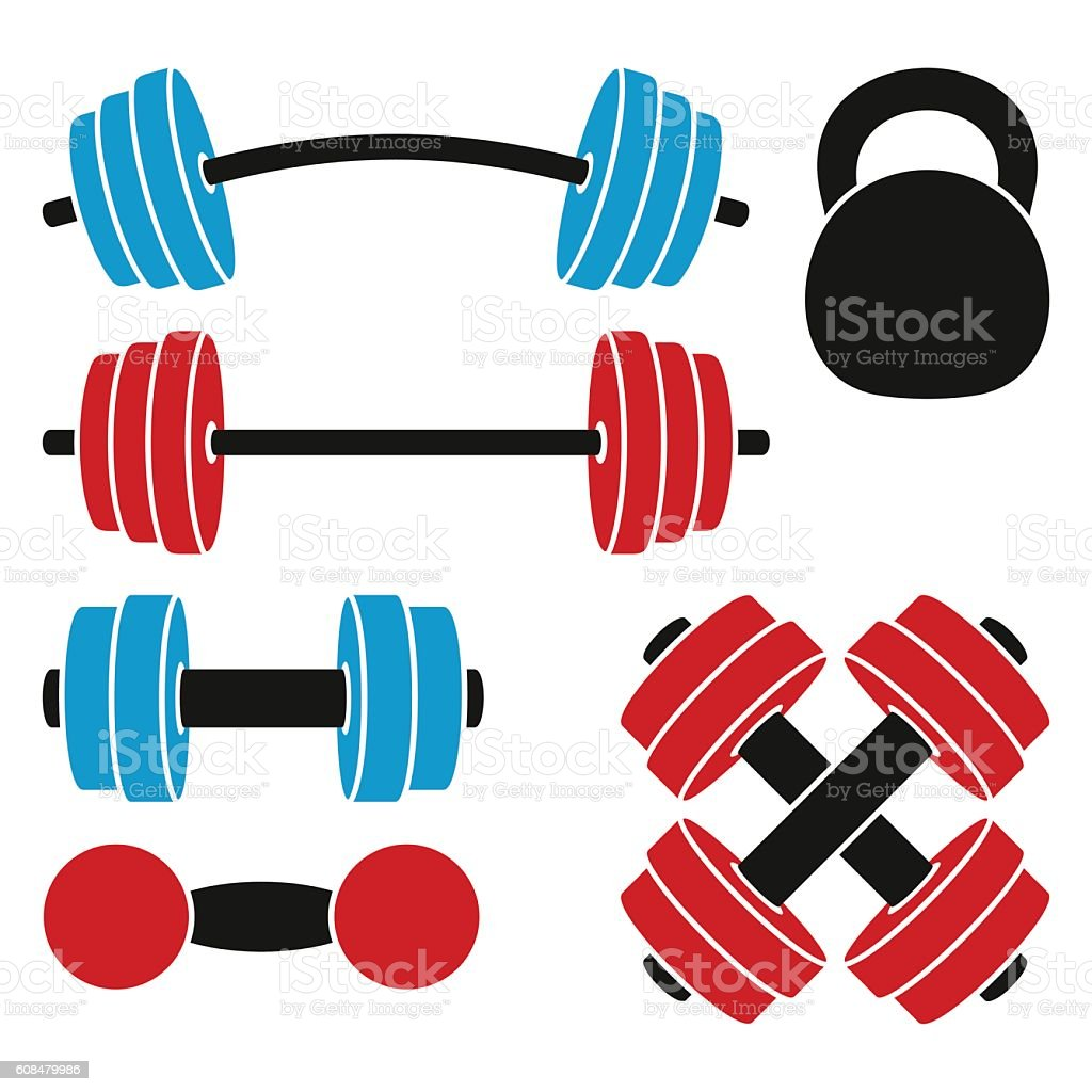 Athletic weights vector art illustration