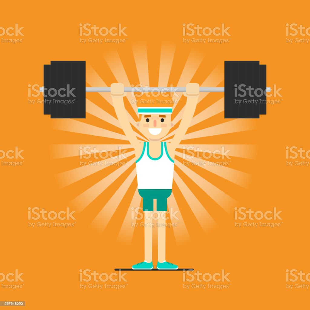 Athletic young man doing exercise vector art illustration