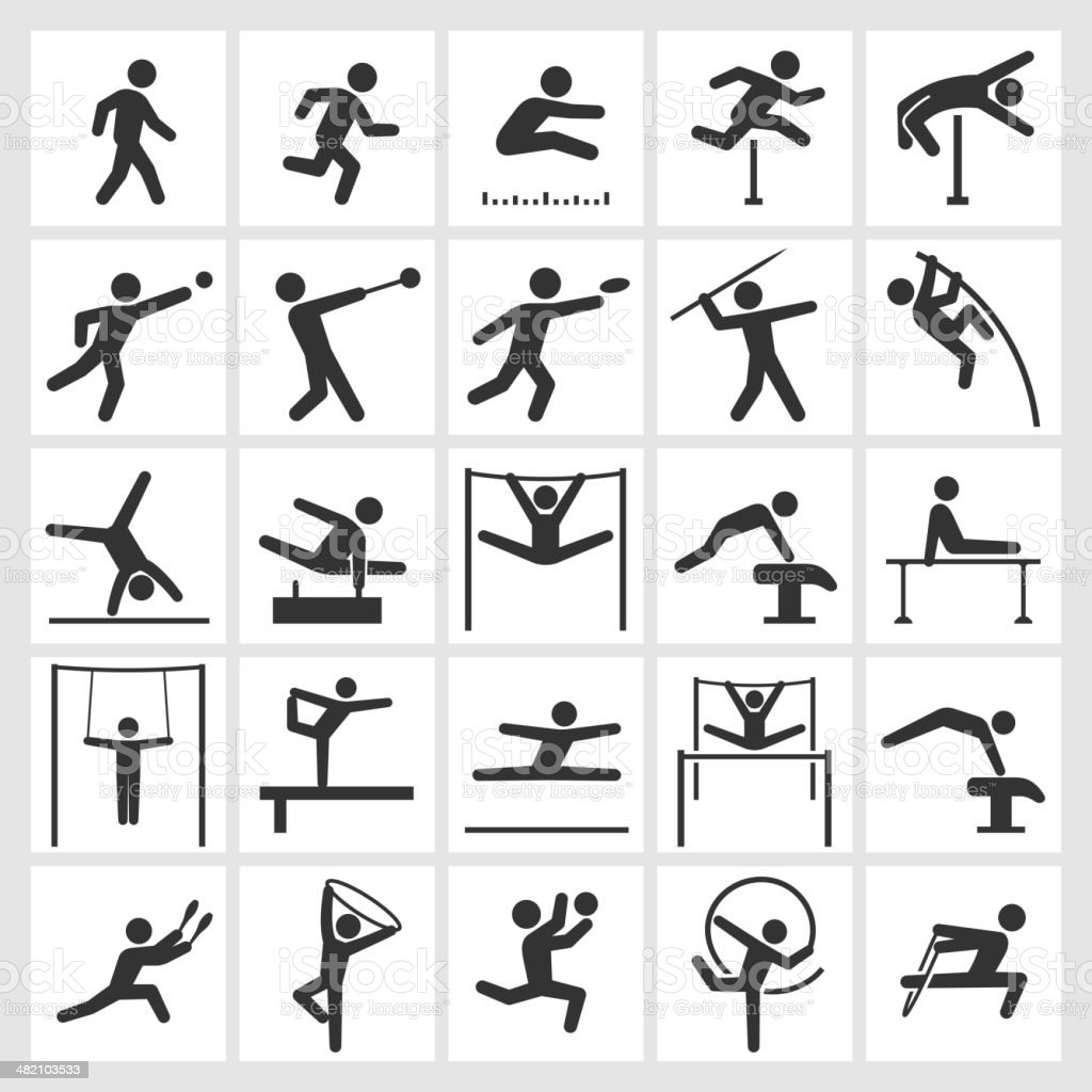 Athletics Artistic and Athletic Gymnastics black & white icon set vector art illustration