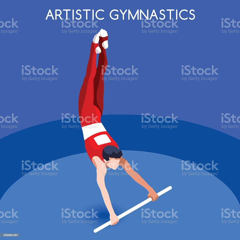 Athletics Artistic Gymnastics High Bar Athlete Sporting Championship International Competition Royalty Free Stock Vector Art