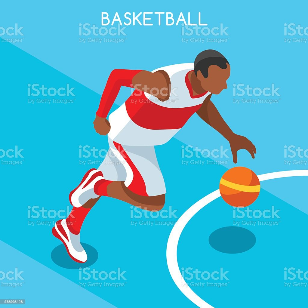 Athletics Basketball Summer Games Athlete Sporting Championship International Competition Isometric vector art illustration