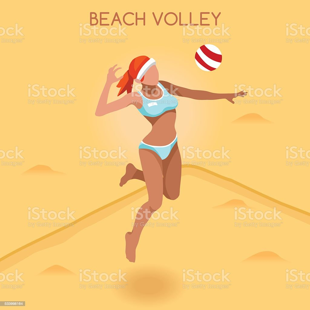 Athletics Beach Volley Player Games Athlete Sporting Championship International Competition vector art illustration