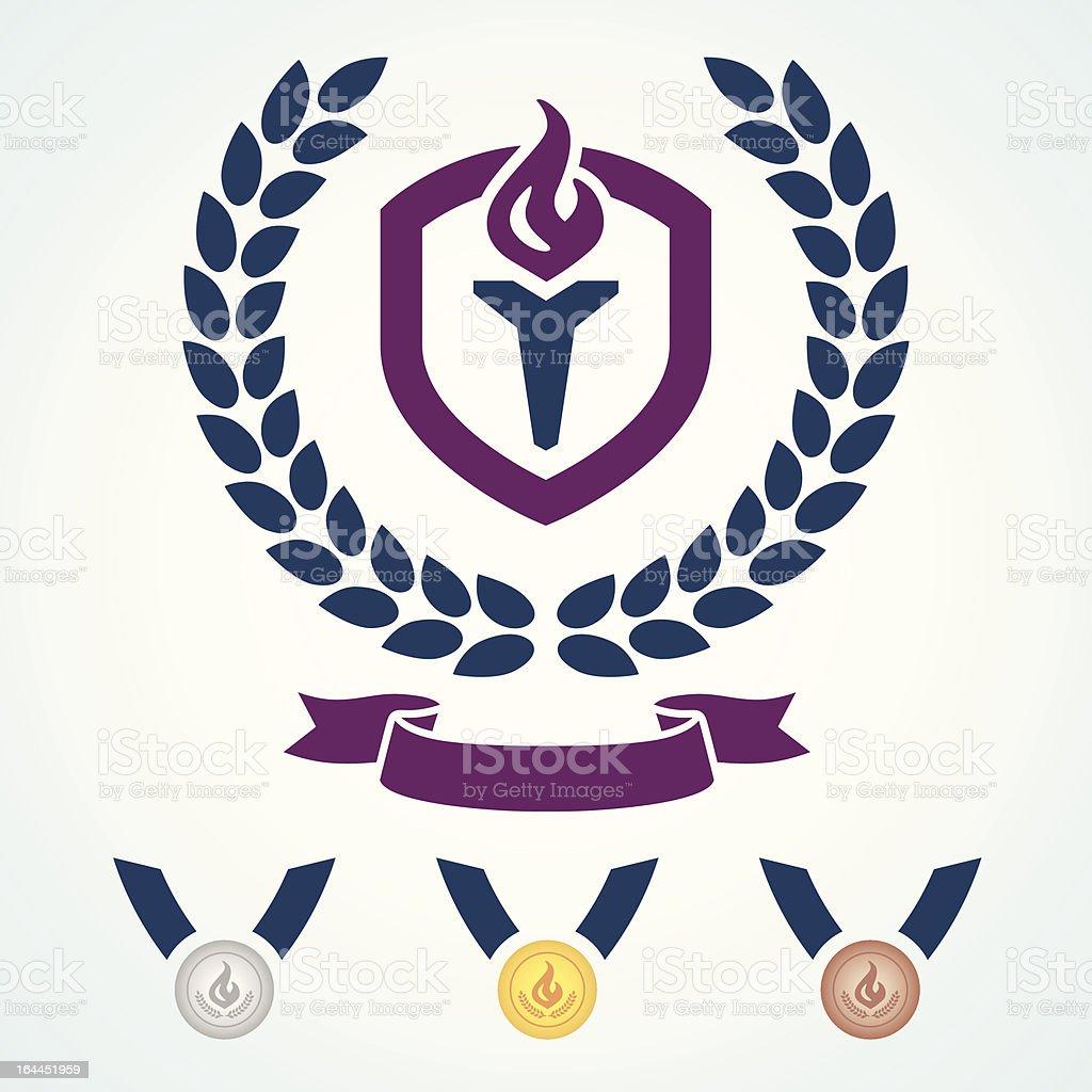 Athletics emblem and medals vector art illustration