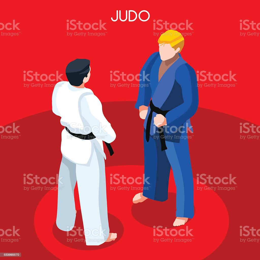 Judo Summer Games Icon Set.3D Isometric Athlete.Sporting Championship...