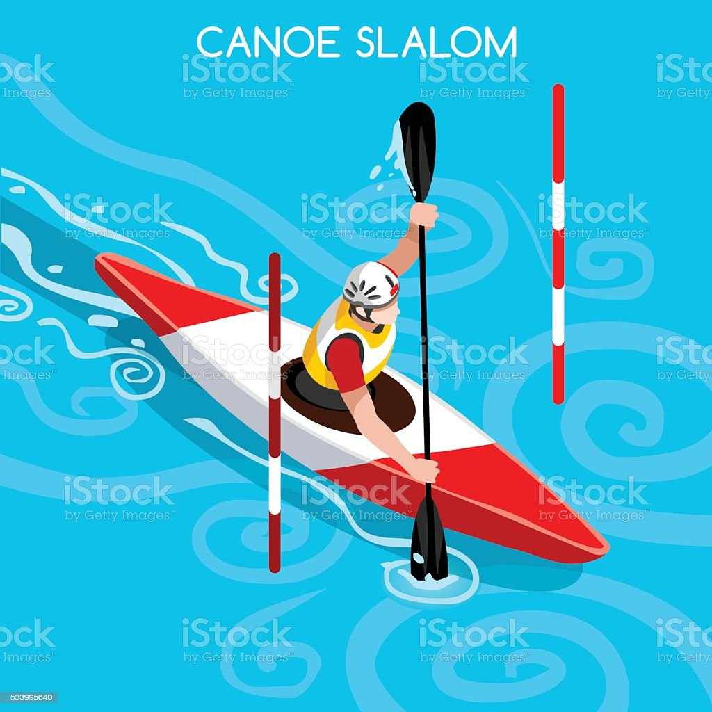 Athletics Kayak Slalom Canoe Athlete Sporting Championship International Competition Isometric vector art illustration