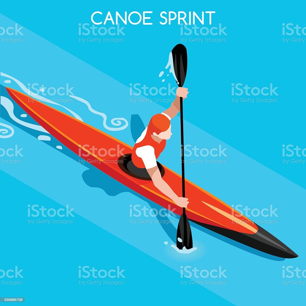 Athletics Kayak Sprint Summer Games Athlete Sporting Championship International Competition vector art illustration