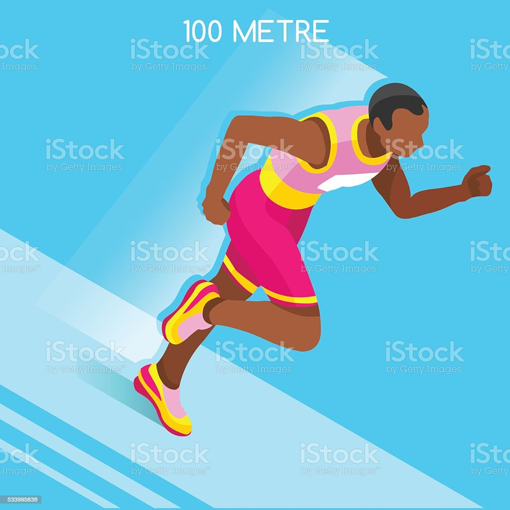 Athletics Running 100 Metres Dash Athlete Sporting Championship International Competition vector art illustration