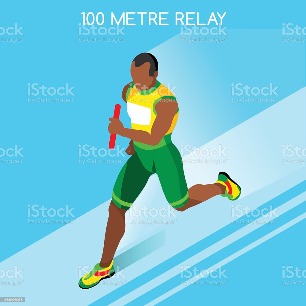 Athletics Running Men Relay Athlete Sporting Championship International Competition Isometric vector art illustration