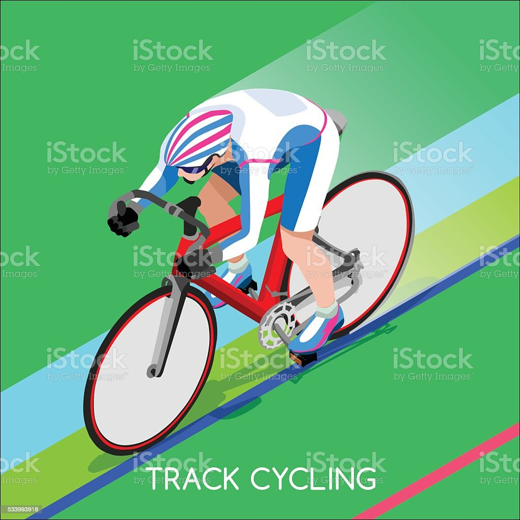 Athletics Track Cyclist Bicyclist Summer Games Athlete Sporting Championship Competition vector art illustration