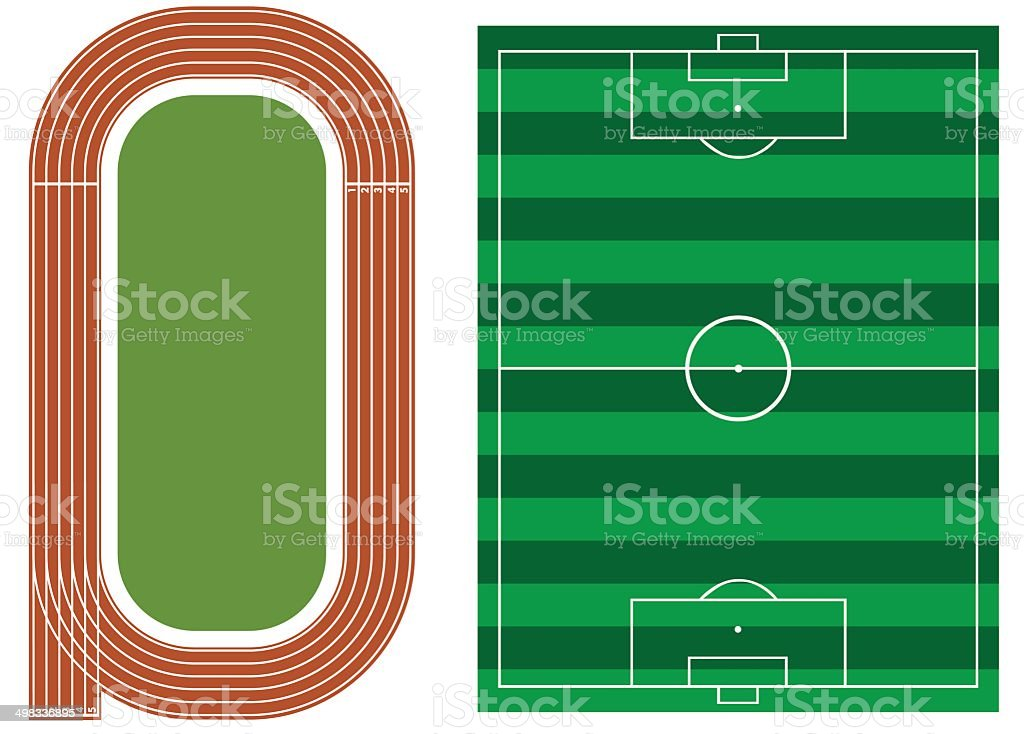 Athletics track with soccer field vector art illustration