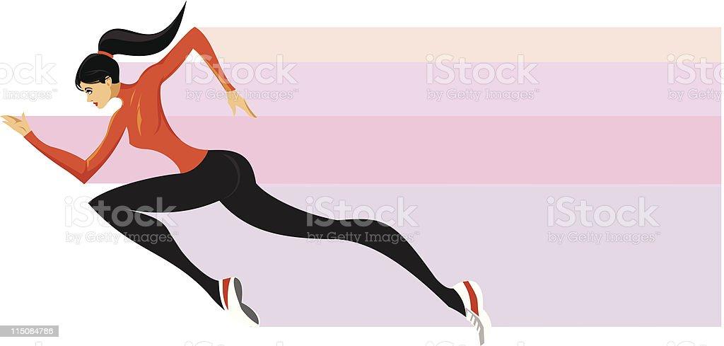 athleticsm - sprinting lady vector art illustration