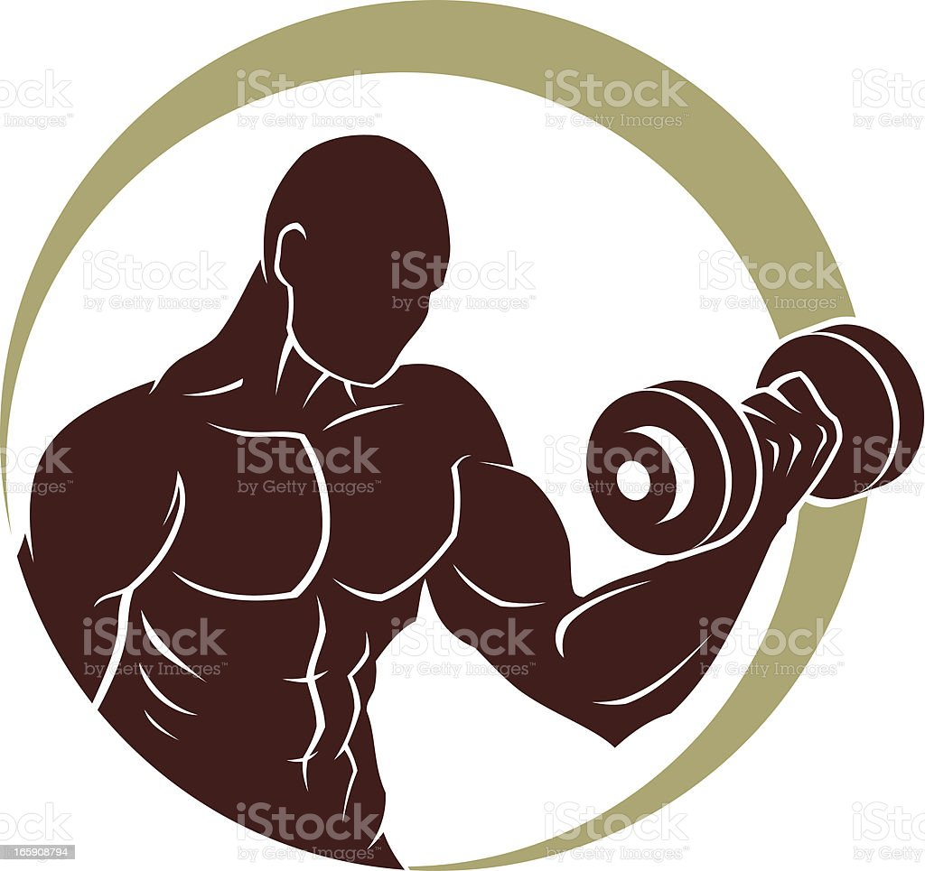 Athlette with dumbbell royalty-free stock vector art