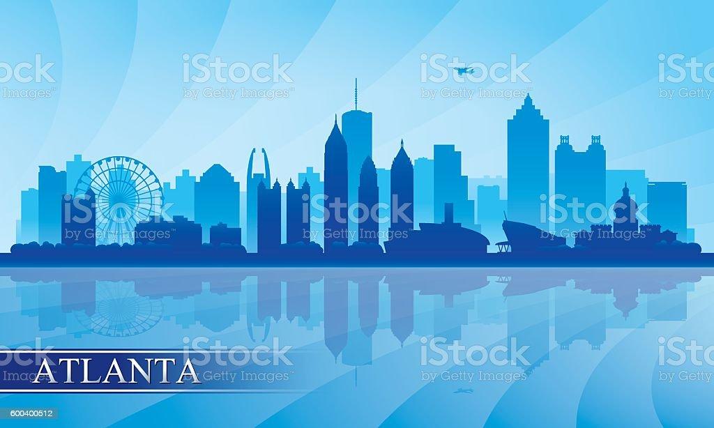 Atlanta city skyline silhouette background vector art illustration
