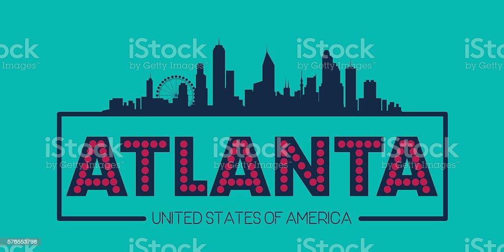 Atlanta skyline silhouette poster vector vector art illustration