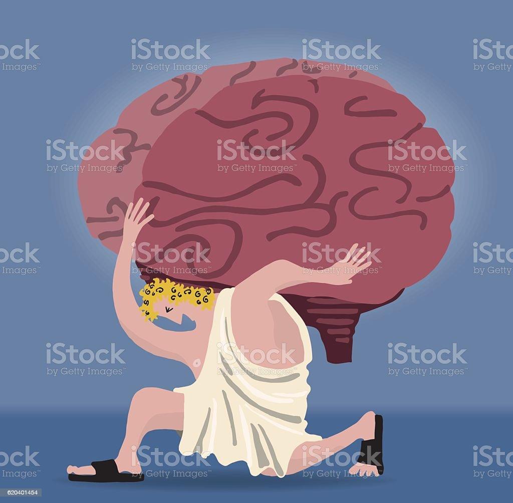 Atlas holding a brain vector art illustration