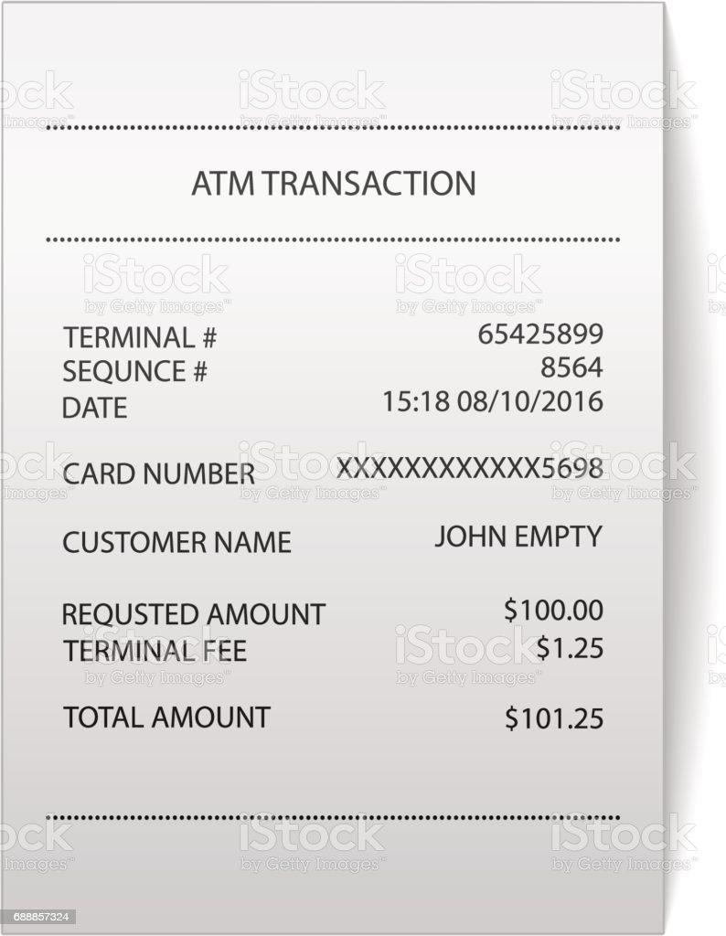 Atm Transaction Printed Paper Receipt Bill Vector Royalty Free Stock Vector  Art