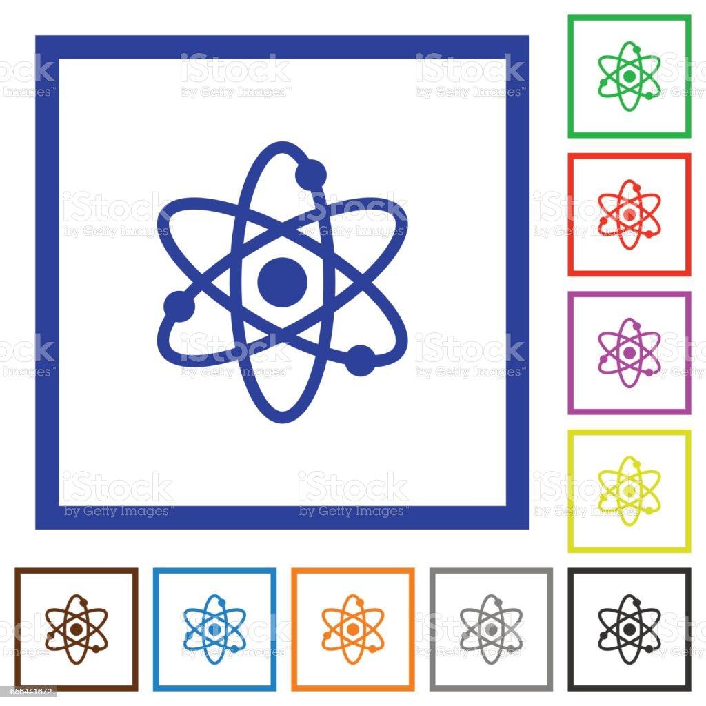 Atom flat framed icons vector art illustration