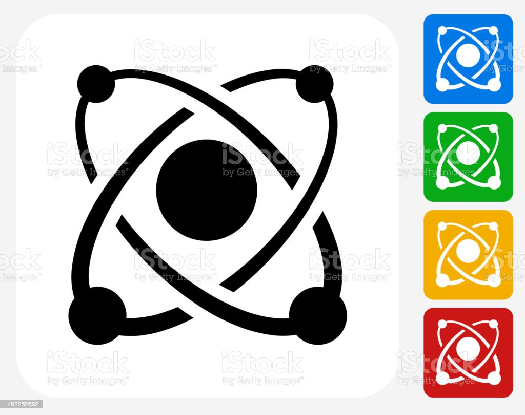 Atom Icon Flat Graphic Design vector art illustration