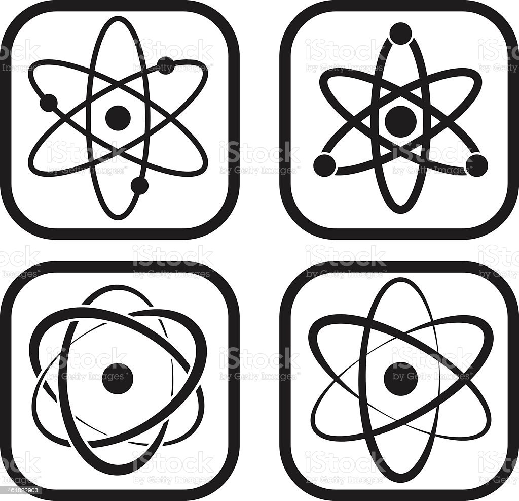 Atom icon - four variations vector art illustration