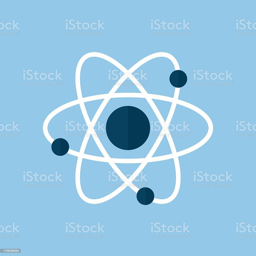 Atom icon, modern minimal flat design style. Vector illustration vector art illustration