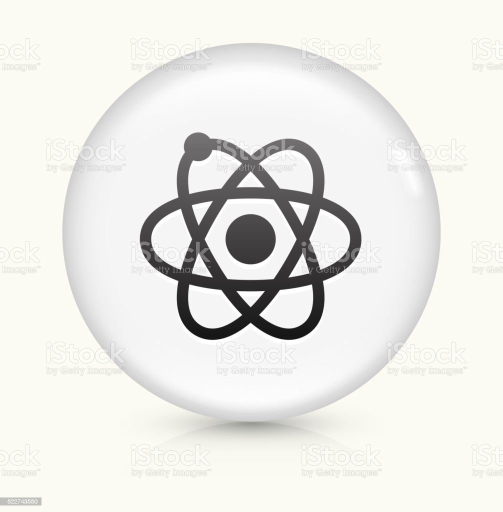 Atom icon on white round vector button vector art illustration