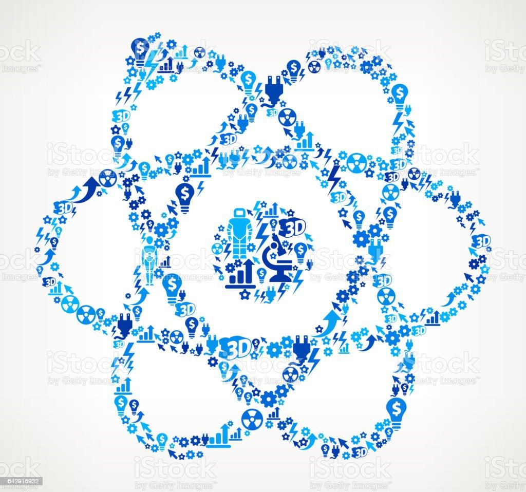 Atom Icon Robot and Robotics Automation Vector Pattern vector art illustration