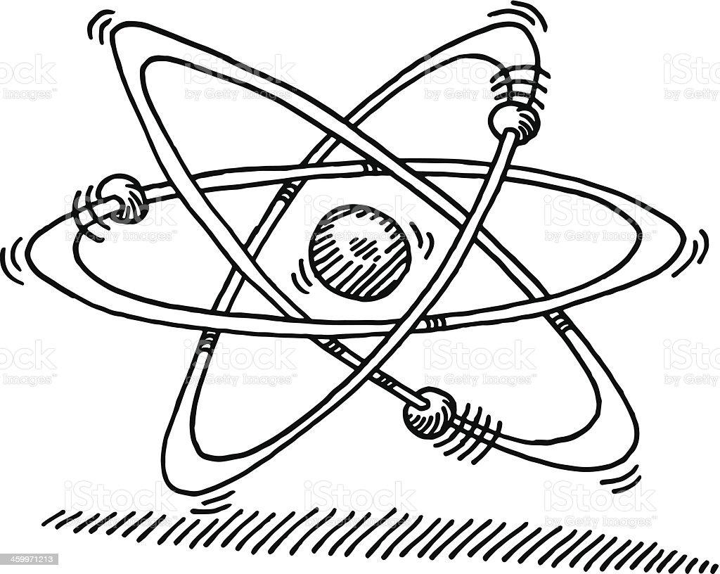 Atom Molecular Structure Symbol Drawing vector art illustration
