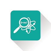Atom research flat icon. Physics science vector illustration