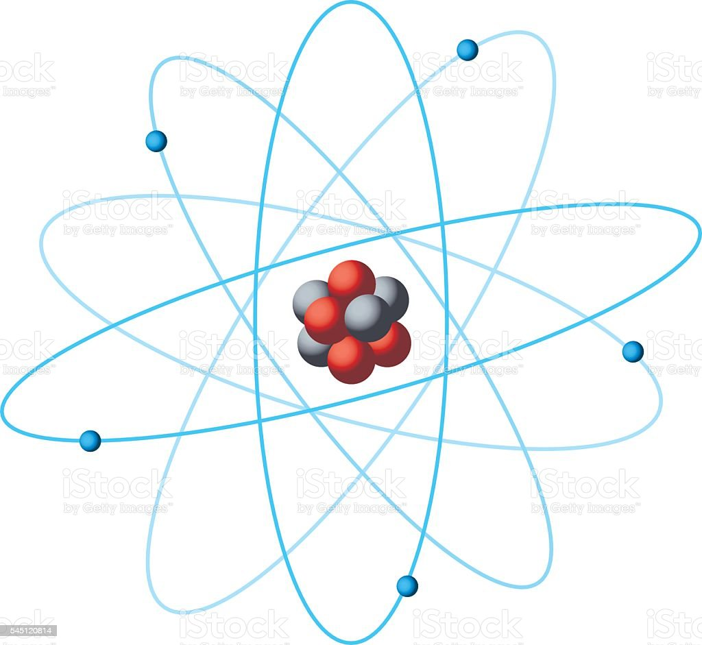 Atom structure diagram vector art illustration