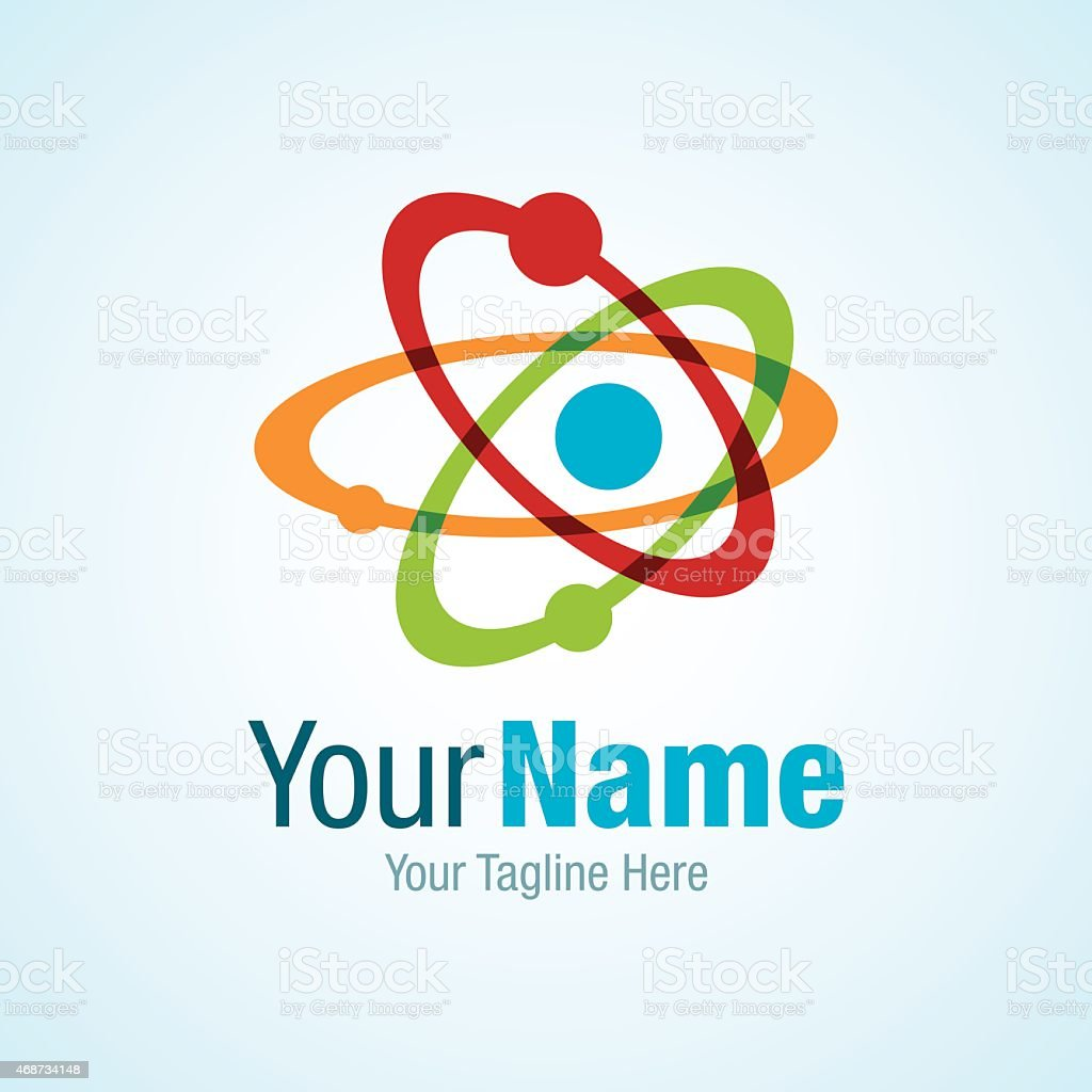 Atom with colorful circles science graphic design logo icon vector art illustration