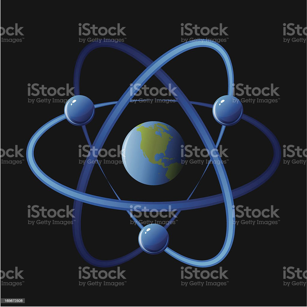 Atom with planet earth vector art illustration