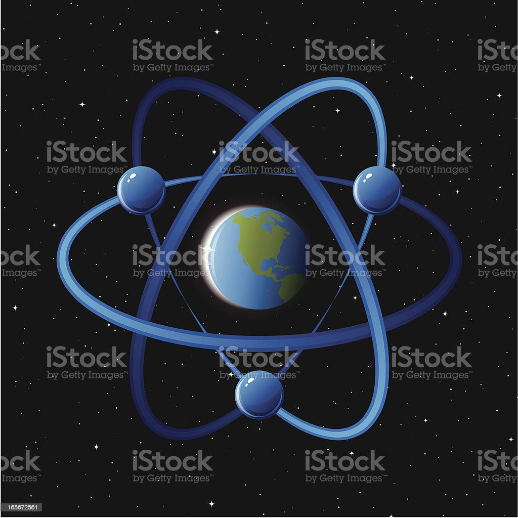 Atom with planet earth royalty-free stock vector art