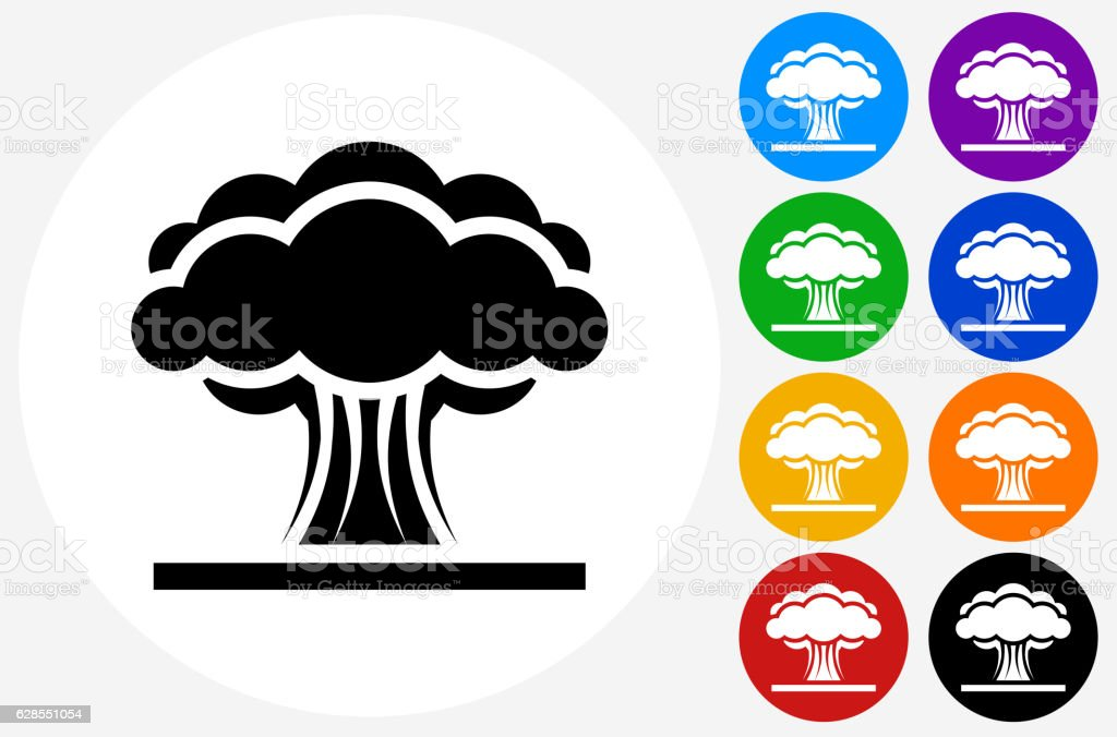 Atomic Explosion Icon on Flat Color Circle Buttons vector art illustration