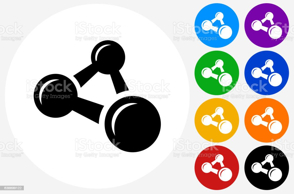 Atomic Formula Icon on Flat Color Circle Buttons vector art illustration