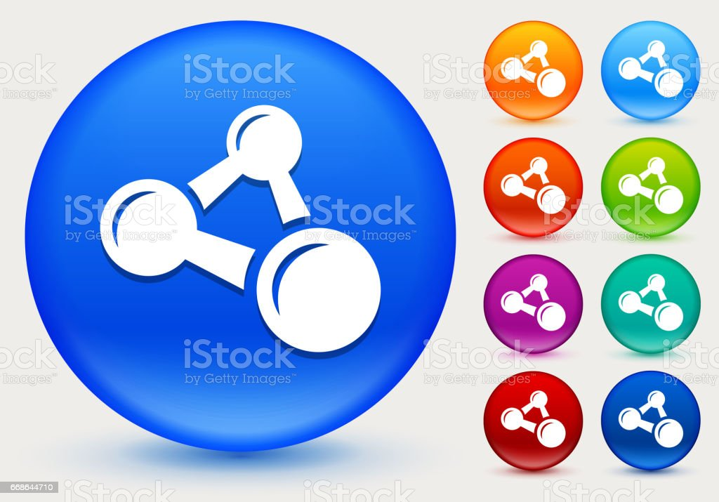 Atomic Formula Icon on Shiny Color Circle Buttons vector art illustration