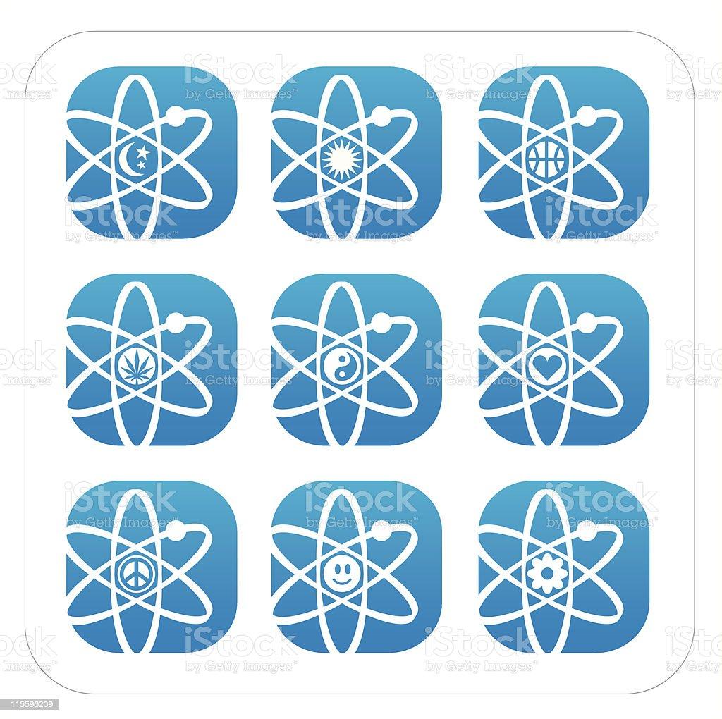 Atomic Symbol Icons vector art illustration
