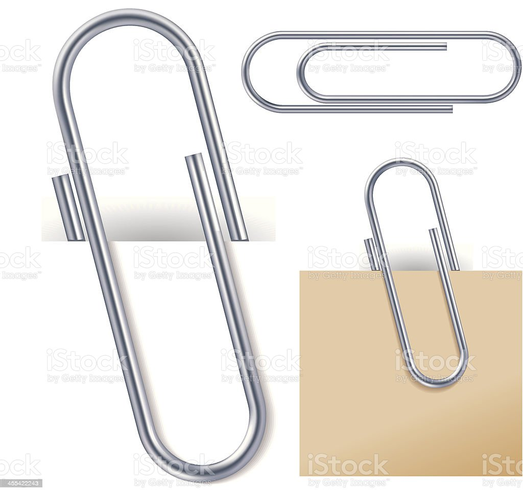 Attached paper clips vector art illustration