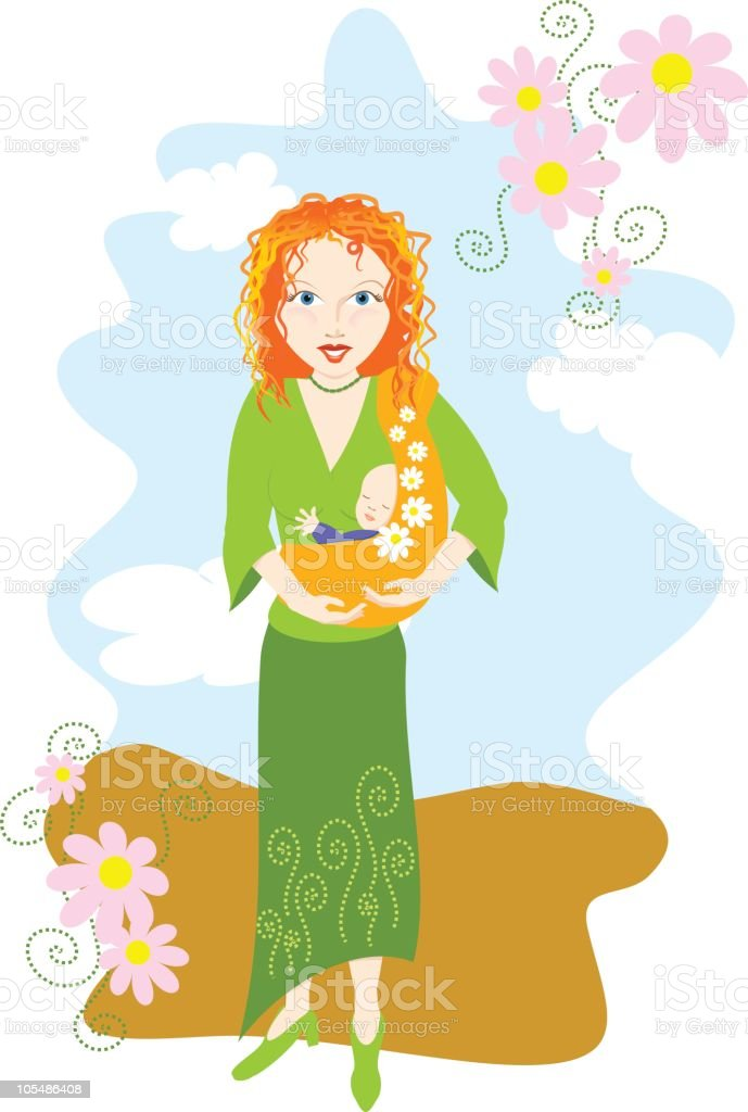 Attachment Parenting: Mom with baby in a sling royalty-free stock vector art