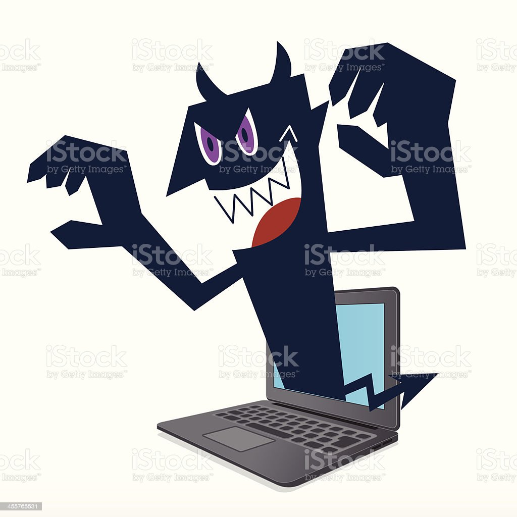 Attack of virus on the computer royalty-free stock vector art