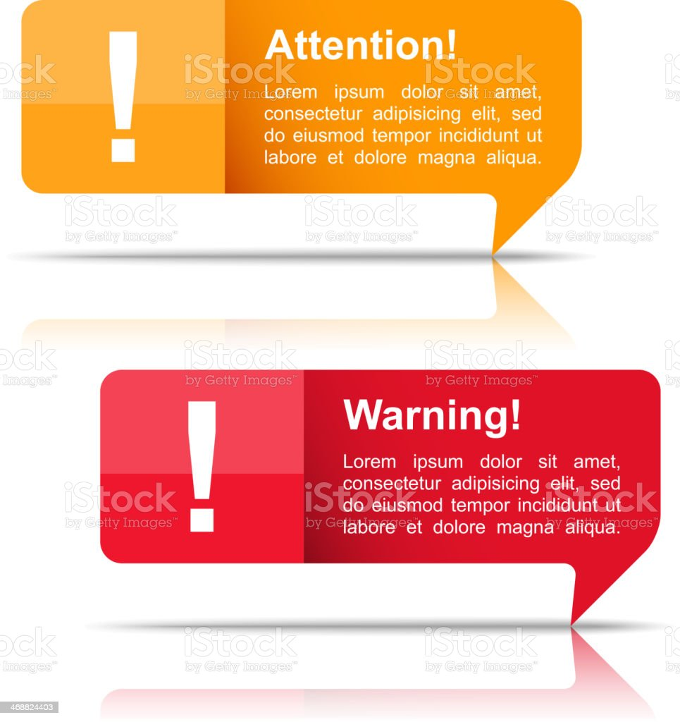 Attention and Warning Banners vector art illustration